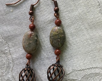 Autumn Jasper, Goldstone and Copper Earrings