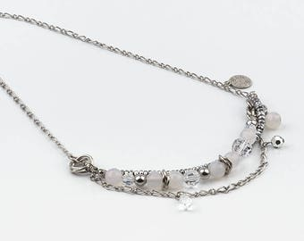 short, white necklace, swarovski crystal, stainless steel