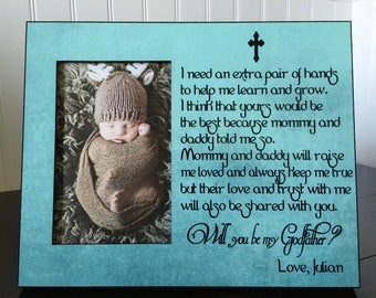 Godfather or Godmother proposal gift / Will you be my godfather / Godparents picture frame gift // Baptism  Frame for godmother or godfather
