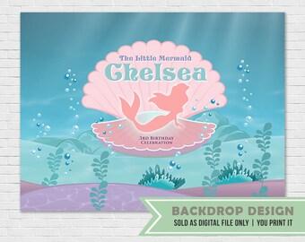 Mermaid Party Banner Backdrop // Little Mermaid Backdrop // Under the Sea Backdrop