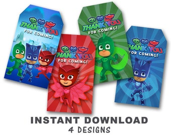 PJ Masks Thank You Tag // Gift Tag // Favor Tag // Instant Download-Available Immediately!