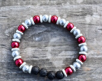 Red and Gray Ohio state colored glass pearl diffuser bracelet