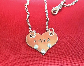 Personalized name necklace with Swarovski crystals