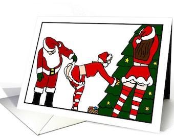 Naught Santa Christmas Greeting Card
