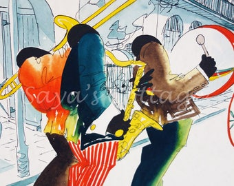 Vintage Original Watercolor  Painting New Orleans Jazz Players By T. Taltavull