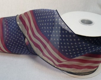 Patriotic, Old Glory patriotic wired ribbon , 4 inch wide, fifteen yards