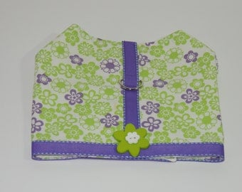 Green and Purple Flowers Dog Jacket