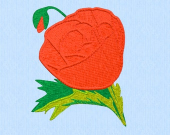 Poppy 1 - Machine Embroidery - Digital Download - 2 Sizes