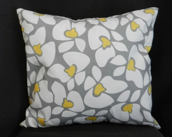 Pillow Cover 18 x 18, Cotton Twill in Gray, White and Yellow