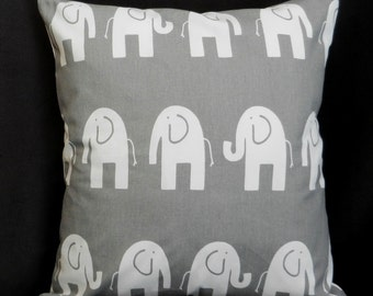 Pillow Cover 18 x 18, Gray with White Elephants