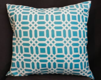 Pillow Cover 18 x 18, Teal and White Lattice Print