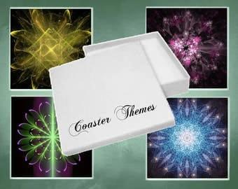 Coasters, Boxed Set of 4 Fractal Glass Coasters (Set1)