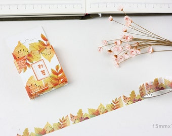 Fall Leaf-Japanese Washi Tape, Masking Tape, Journal Tape, Decorative Tape, Planner Sticker, Season's Love Song, Stationery