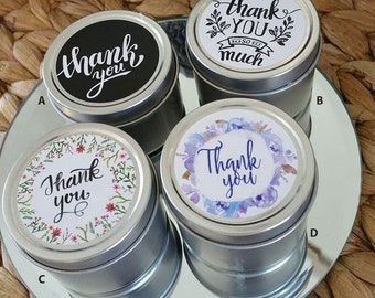 24 x Wedding Favour 'Thank you' Candles - 2oz , Wedding Candles, Gift Bomboniers, Personalised Gifts,  Wedding Decorations