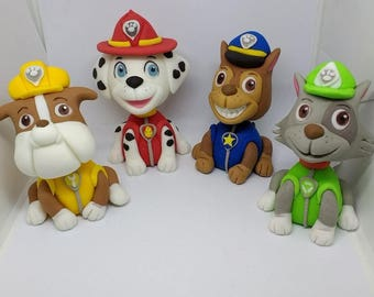 Handmade edible Paw patrol  inspired cake toppers, set of four