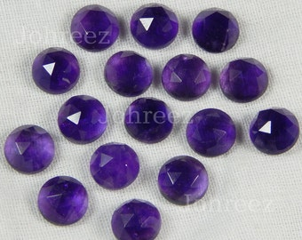25 Pieces Wholesale Lot Natural Purple Amethyst Round Rose Cut Gemstone