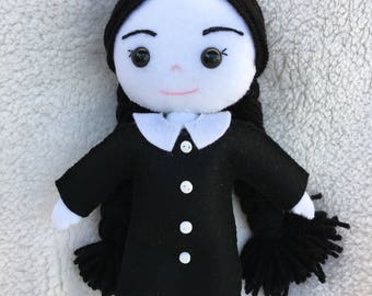 Wednesday Addams OOAK Doll Addams Family Toy Horror Dolls Halloween Toys Ugly Cute Creepy Cute Ragdoll Goth Doll