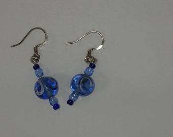Custom hand made earrings clear blue painted glass bead