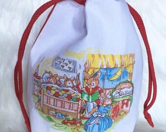 Gift Bag - fabric gift bag - handmade gift bag - small drawstring bag - Easter egg bag - easter gift bag - upcycled