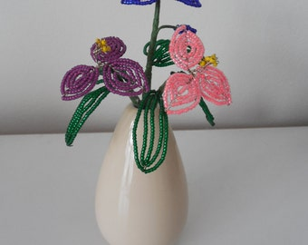 French Beaded Flower Vase