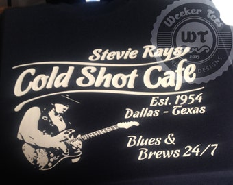 "Stevie Ray Vaughan Tribute T-Shirt ""Stevie Rays Cold Shot Cafe"""
