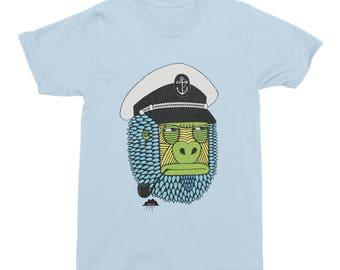 Gorilla T-Shirt, Captain Gorilla T-shirt, Anchor Mens T-Shirt, Light Blue Captain Gorilla, Anchor Pipe T-Shirt, Men's Designer T-Shirt