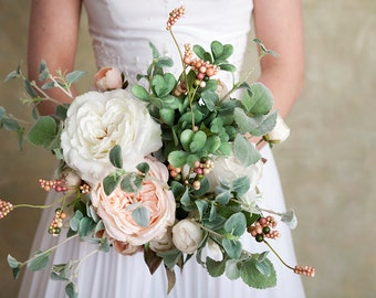 Blush Pink Cream Green Bouquet, Silk Flower Bouquet, Blush Bouquet, Succulent and Rose Bouquet, Wild Bridal Bouquet, Wedding Flowers
