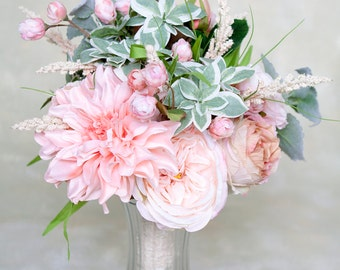 Blush Bouquet, Wedding Bouquet, Silk Bridal Bouquet, Roses, Wedding Flowers, Garden Bouquet, Bride Bouquet, Summer Flowers
