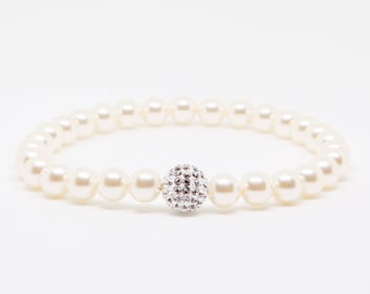 Crystal Ball Bracelet, Stretch Pearl Bracelet, Crystal Pave Ball Bracelet, Wedding Jewelry, Bridesmaids gift