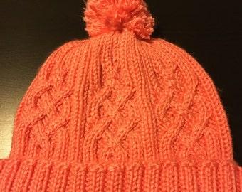 Cable knit beanie w/ pom pom