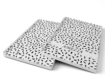 Dashes Notebook.  Hard Cover Spiral Notebook. Notepad. Journal.