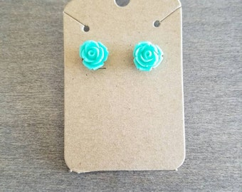 Turquoise rose stud earrings