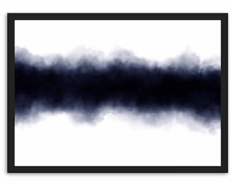 Abstract Horizon - Midnight Blue - Watercolour Painting