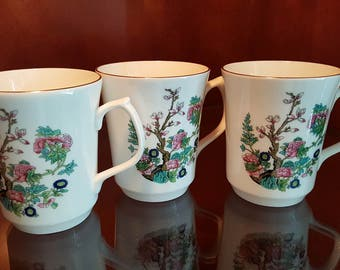 """Set Of (3) Jason Works Nanrich Pottery Fine Bone China Cups/Mugs From The """"Indian Tree"""" Collection, Made In England c1970's/80's Dinnerware"""