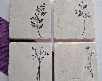 Herb Coaster Set, set of 4, Natural Tumbled Stone, Plants, leaves, Nature lover gift, Gardener