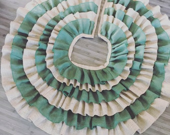 "Burlap tree skirt - Green and Natural Burlap Ruffled Treeskirt - 40"" to 60"""