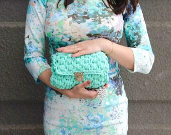 Crochet Clutch Bag, Handmade knit clutch, Turquoise Bag, Blue Bag, Boho Clutch, Crochet rope bag, Summer bag, Gift ideas