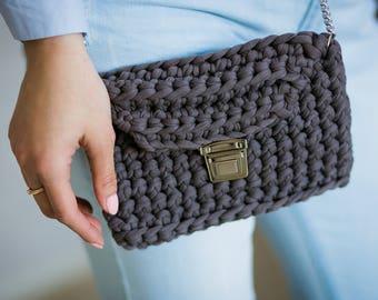 Crochet Clutch Bag, Handmade knit cotton clutch, Gray Bag, Boho Clutch, Crochet rope bag, Summer bag