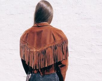 Size L Fringed Leather Jacket