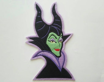 Maleficent iron on inspired large patch, Sleeping beauty birthday party iron on inspired patch