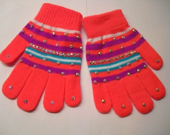 New! Beautiful Hand-Stoned Gloves 1 pair (Peach Striped)
