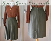 Sage Green Rayon Pleated Pencil Skirt 1940's Style Knee Length Size XS 6/8