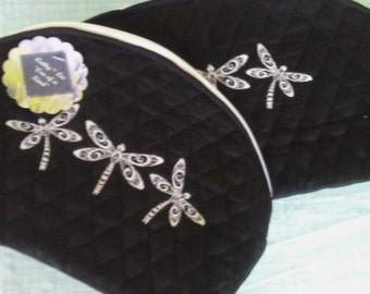 Charming pair of dragonfly cosmetic bags.