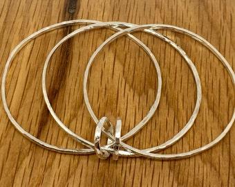 Sterling Silver Triple Ring Bangle, Three ring bangles, triple bangles, silver three ring bangle, silver bangles, handmade silver bangles