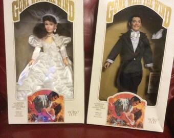 Wedding Gone With the Wing Rhett Butler Scarlett O'Hara Bride Groom MIB World Dolls Pair