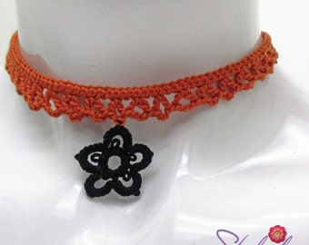 Orange Crochet Choker Necklace with a Black Tatted Flower. Handmade Choker Lace Necklace