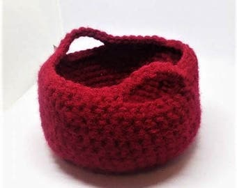 Mini Crochet Basket, Small Basket, Crochet Bowl, Decorative Basket, Key Holder, Basket with Handles, Storage Basket