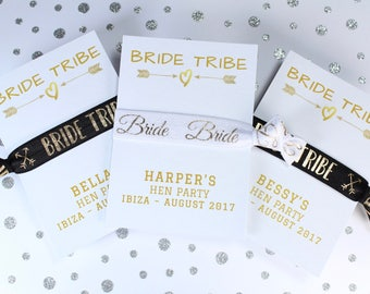 Bachelorette Party Favor - Hen Party Favours - Bride Tribe Hair Ties - Personalised Keepsake - Personalized Card - Gifts for Hen Party