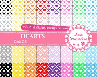 Digital Papers of Hearts - Scrapbook papers-  Digital Backgrounds - Decorative paper - COD: C-3