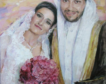 Commission portrait, commission painting, commission wedding, custom oil painting, turn photo to painting, custom wedding portrait